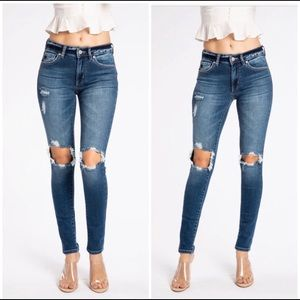 AGOLDE High Rise Distressed Blue Skinny Jeans 29